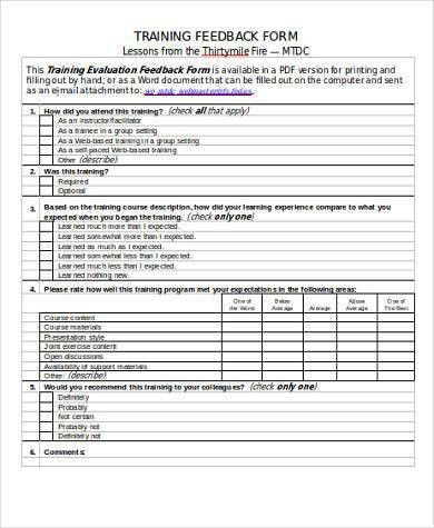 7+ Training Feedback Form Samples - Free Sample, Example Format ...