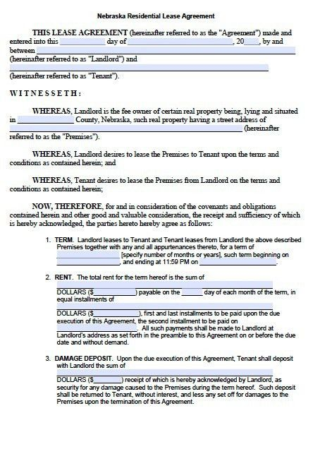 Free Nebraska Residential Lease Agreement Form – PDF Template