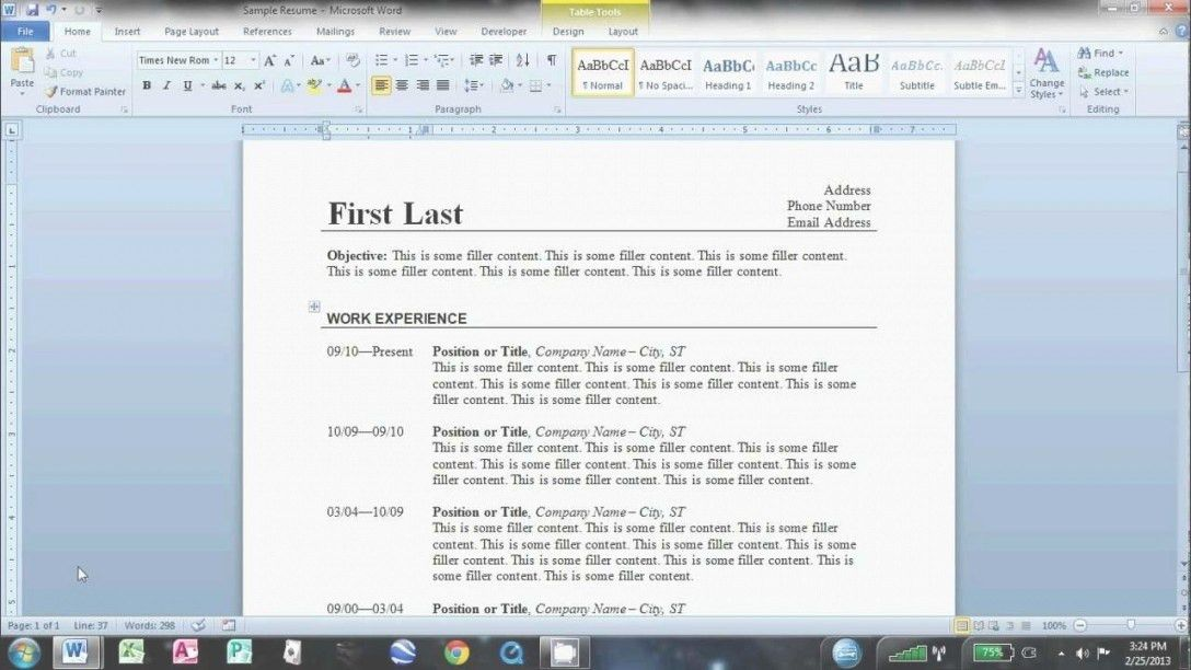 Create A Resume Using Microsoft Word 2010 | Case Study Brand Building
