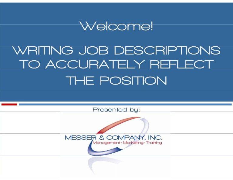 Developing Effective Job Descriptions -10/09