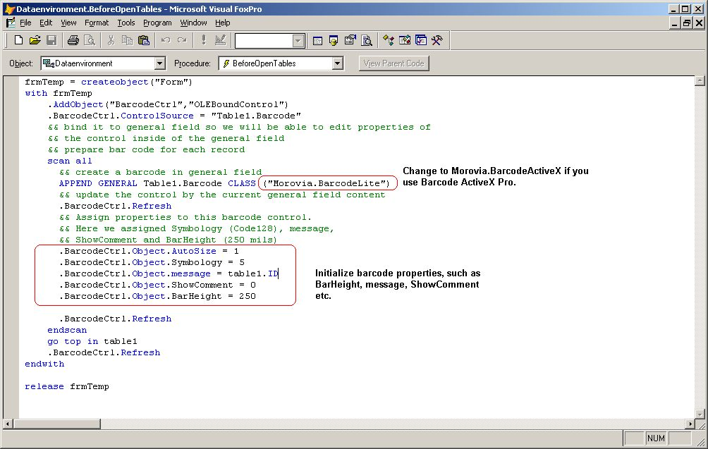 KB10137 - Tutorial: Adding Barcode ActiveX to a Visual FoxPro Program