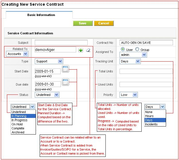 Service Contracts - vtiger