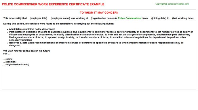 Police Commissioner Work Experience Certificate