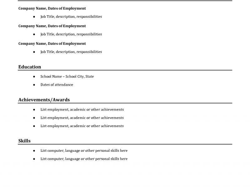 Shining Inspiration Basic Resume Template 14 Templates Sample ...