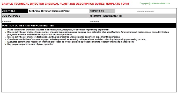 Chemical Plant Technical Director Job Descriptions