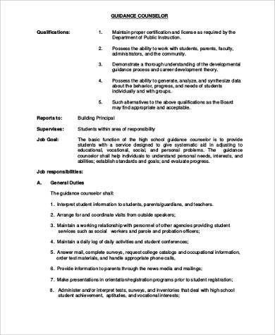 School Counselor Job Description Sample - 9+ Examples in Word, PDF