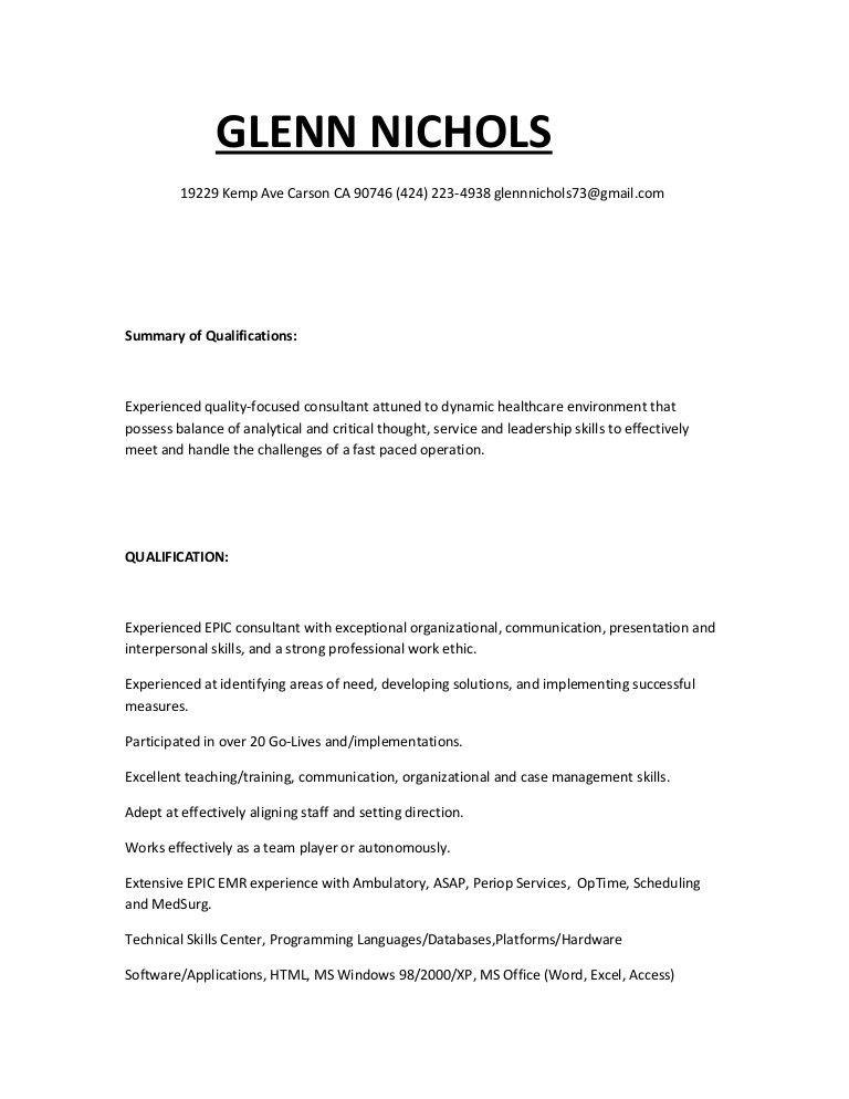 glenns resume 2015