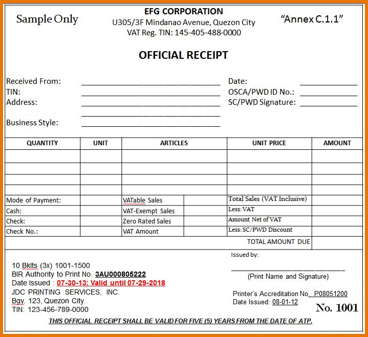 Sample Receipts.vat Official Receipt4.png | Scope Of Work Template