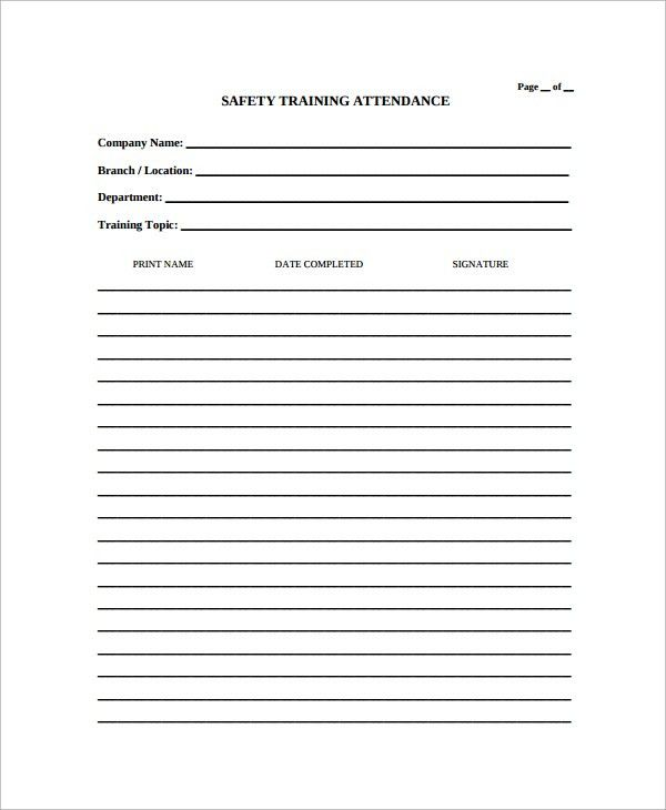 Sample Attendance List Template   9+ Free Documents Download In . Pertaining To Attendee List Template