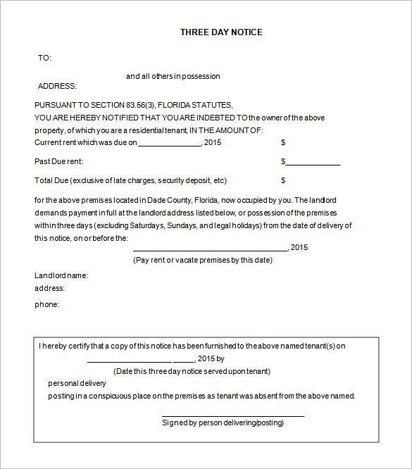 Notice To Evict Template. 30 day notice to vacate template real ...