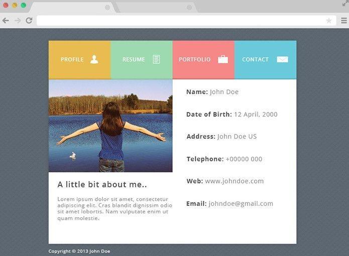 Free Flat PSD Resume Website Template - TitanUI