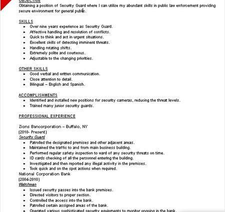 Security Guard Resume Example. Security Guard Sample Resume ...