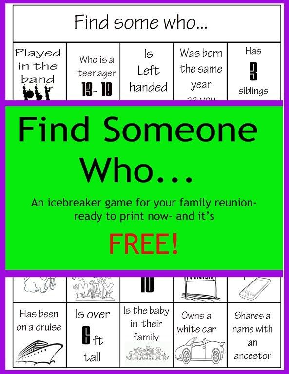 Family Reunion BINGO | Family Reunions and Parties | Pinterest ...