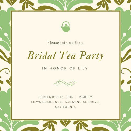 Green Pattern Fancy Tea Party Invitation - Templates by Canva