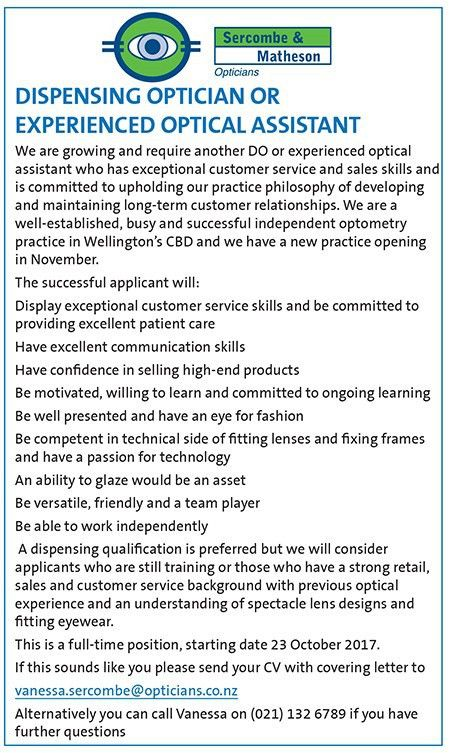 NZ Optics   Positions Wanted   Positions Vacant