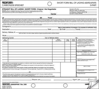 Rediform® Carbonless Bill of Lading Speedisets®, Short Form, 8-1/2 ...