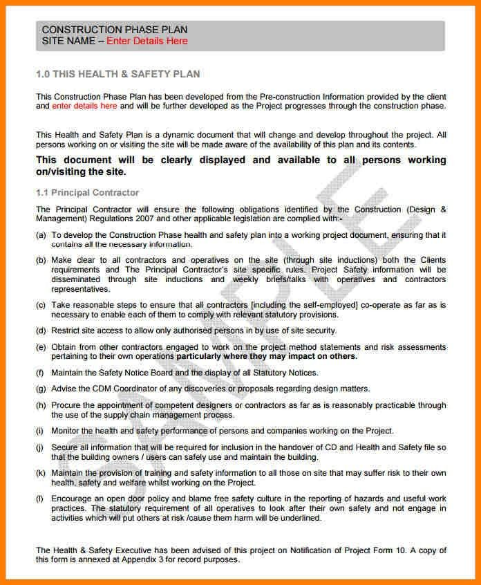 Construction Safety Plan Template.Construction Phase Plan Template ...