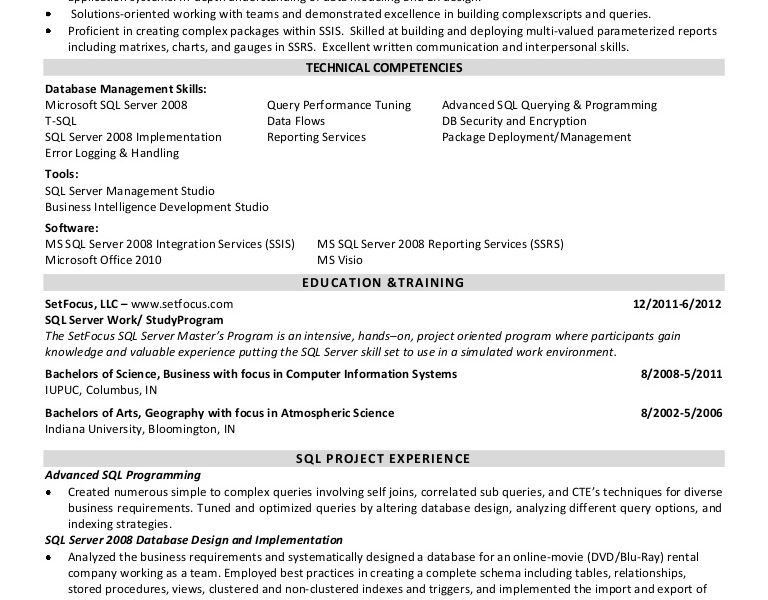 Pleasing Sql Developer Resume Extraordinary - Resume CV Cover Letter