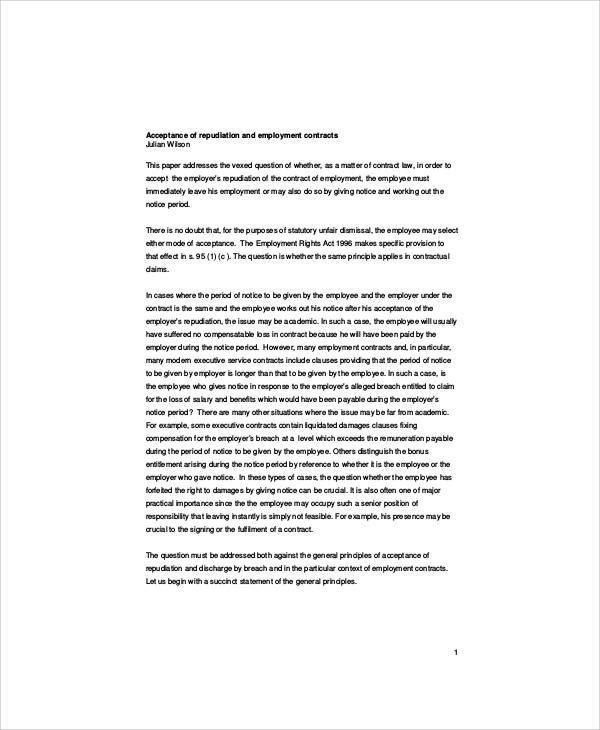 Breach of Employment Contract Sample - 6+ Examples in Word, PDF