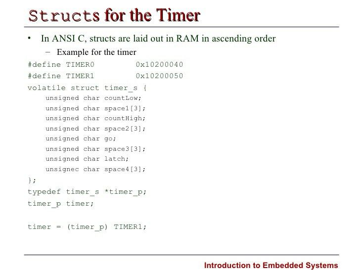 Introduction to Embedded Systems Timers and Interrupts