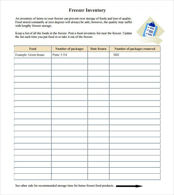 Sample Food Inventory - 7+ Document in PDF, Excel