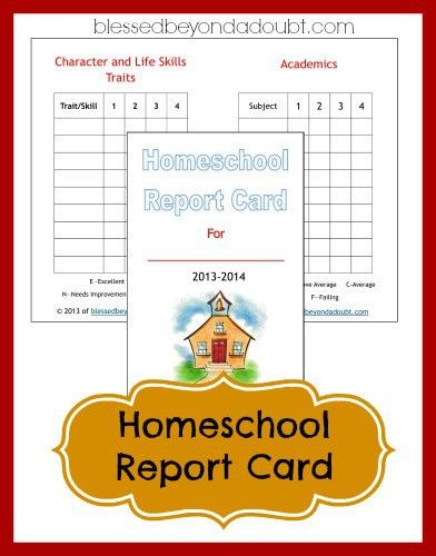 FREE Homeschool Report Card Form | Homeschool, Free printable and ...