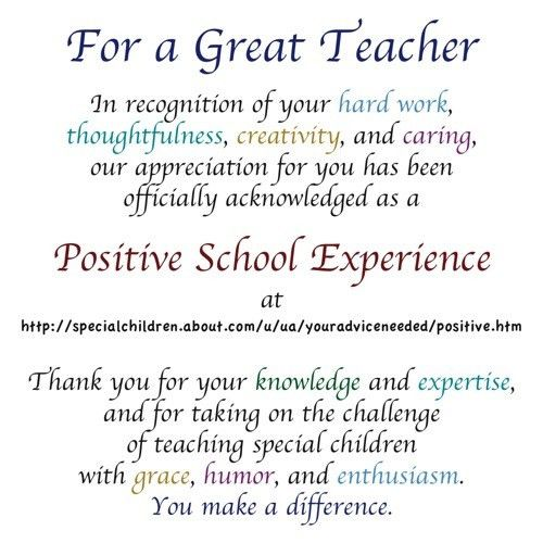 Teacher Appreciation - Special Acknowledgments for Special ...