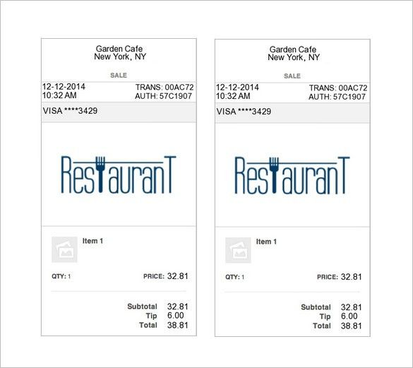 Restaurant Receipt Template – 6+ Free Sample, Example, Format ...