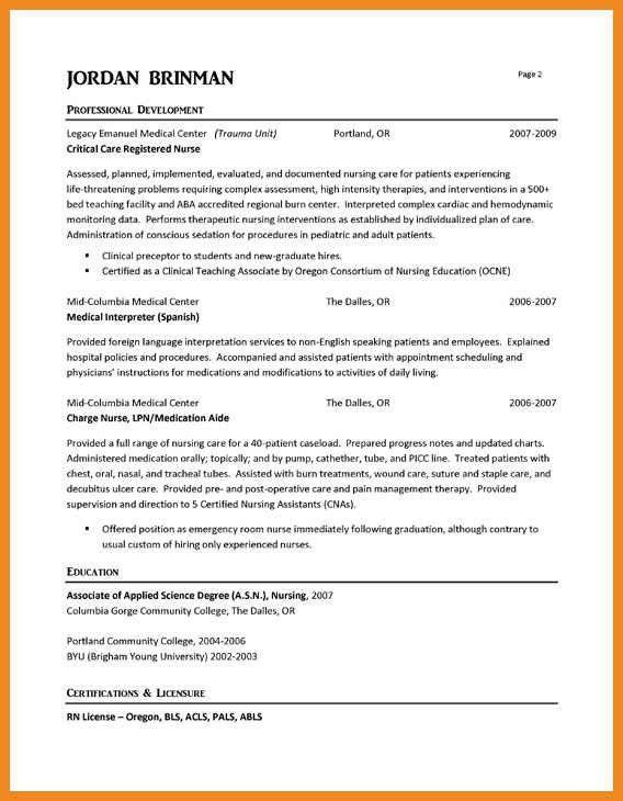 Cna example resume