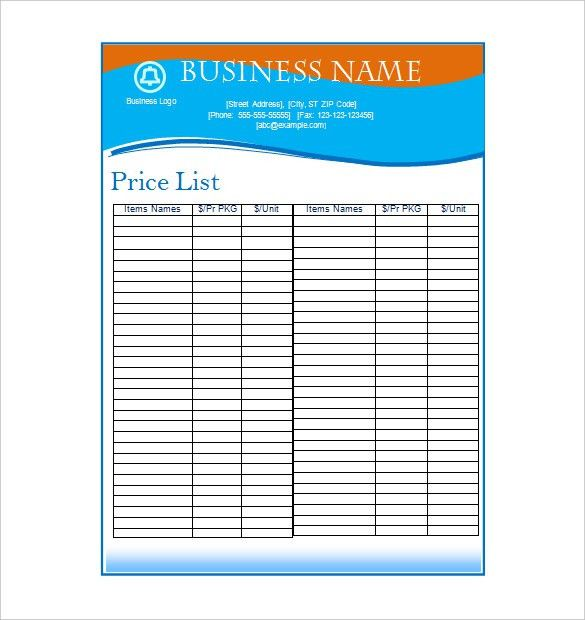 Price List Template | cyberuse