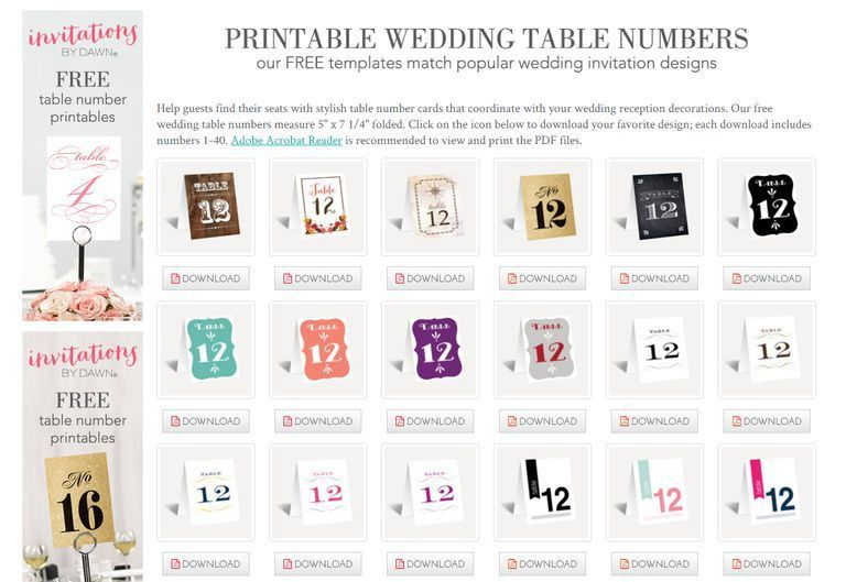 107 Sets of Free, Printable Wedding Table Numbers
