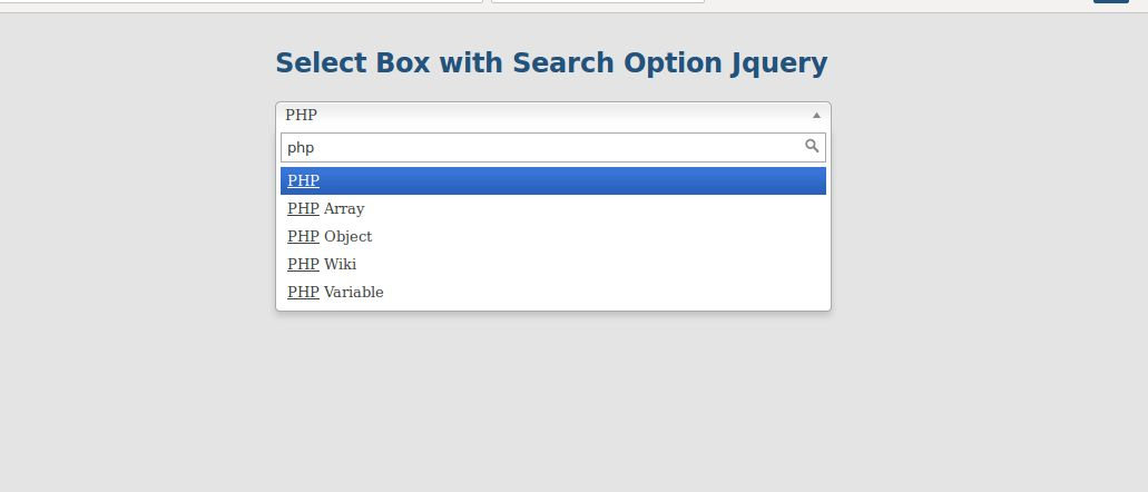 Select box with search option example in Jquery using Chosen Plugin