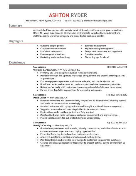 Best Retail Salesperson Resume Example | LiveCareer