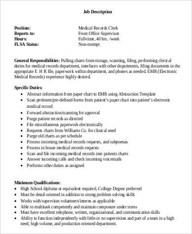 Office Clerk Job Description. Data Entry Clerk Resume Sample ...