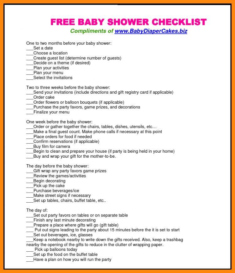 6+ baby shower checklist printable   nurse resumed