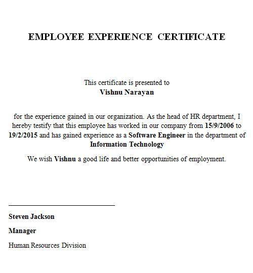 How To Write Work Experience Certificate Format - Compudocs.us