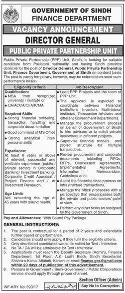 Jobs In Finance Department Govt Of Sindh 01 Oct 2017