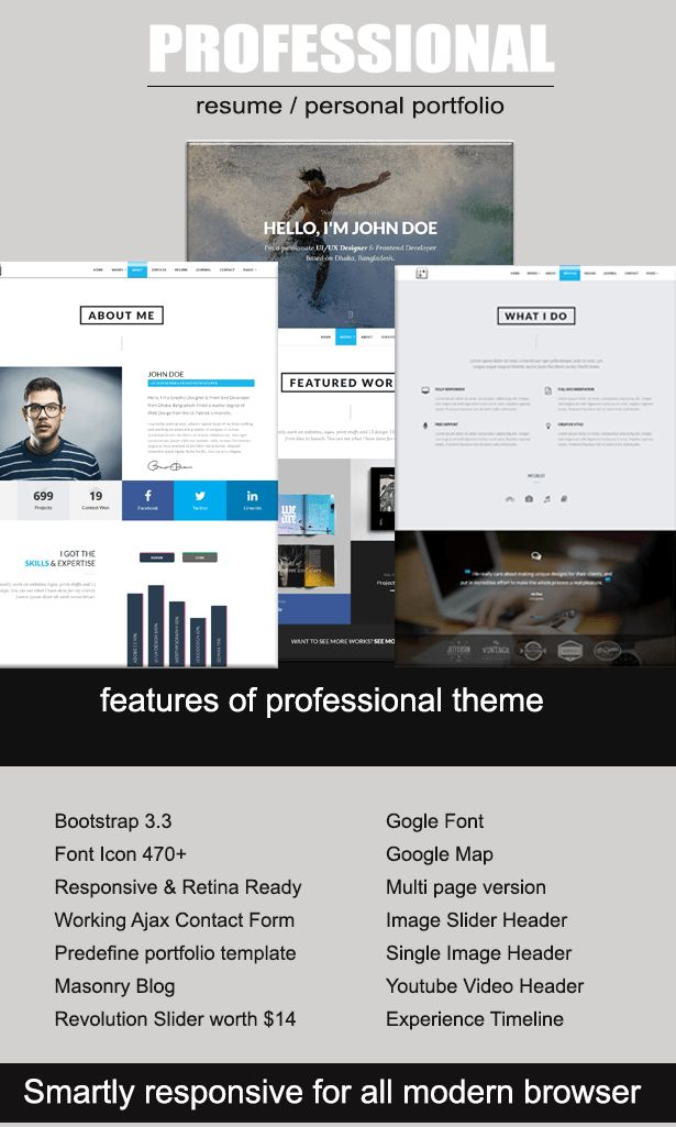 Professional Resume / Portfolio HTML Template by ThemeElegant ...