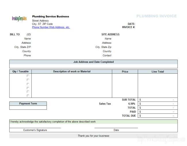 Excellent Template of Billing Invoice Form for Plumbing Service ...