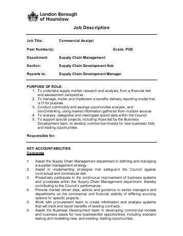 Business Development Job Description. Commercial Analyst Job ...