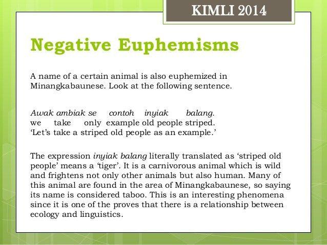Types and forms of euphemisms in minangkabaunese KIMLI 2014 Rusdi Noo…