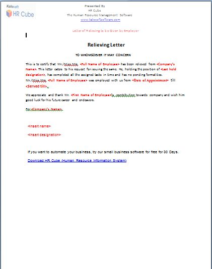 Relieving Letter – Download Template