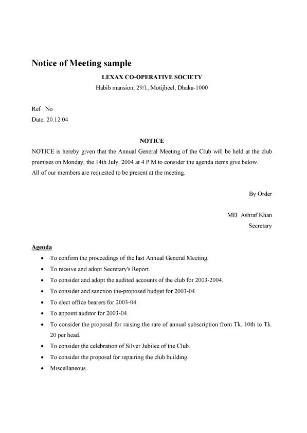 Notice of Meeting sample / template / example / format
