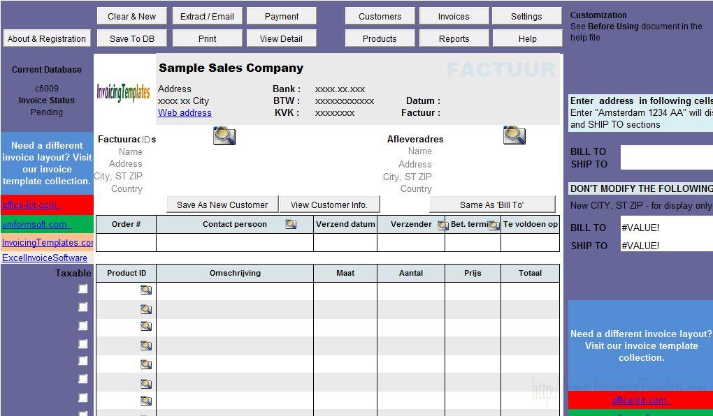 Netherland Sales Invoice Template