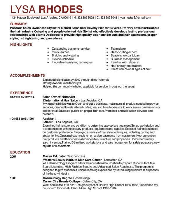 Salon Receptionist Resume Sample - http://resumesdesign.com/salon ...