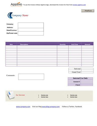 Simple Service Invoice Template for different businesses | Invoice ...