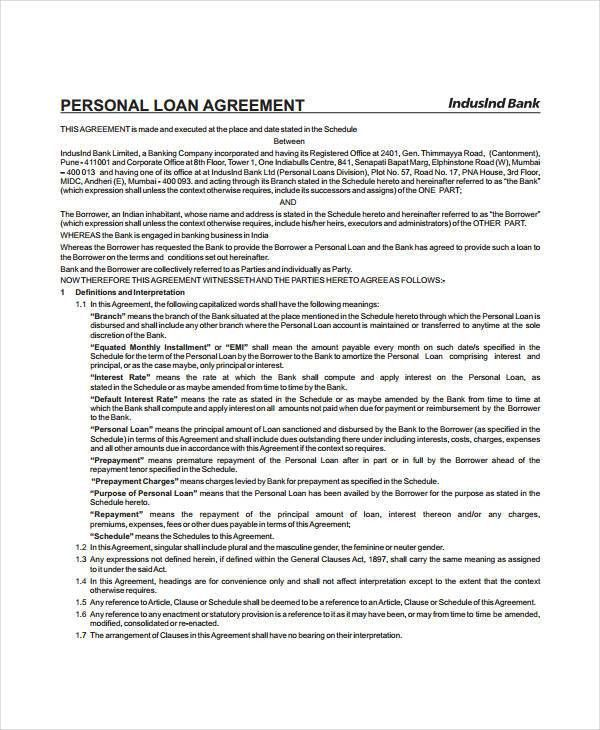 Personal Loan Agreement - 8+ Free PDF, Word Documents Download ...