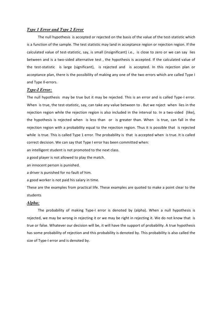 Type 1 Error and Type 2 Error | Type I And Type Ii Errors ...
