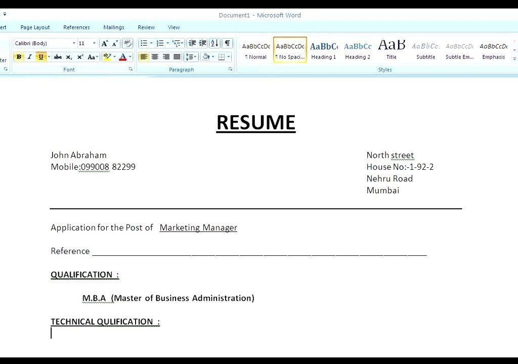Marvellous Design Simple Resume Format 13 HOW To MAKE A SIMPLE ...