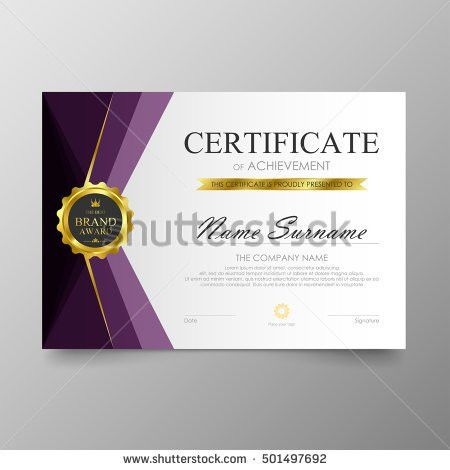 Modern Certificate Template Design Golden Stripes Stock Vector ...